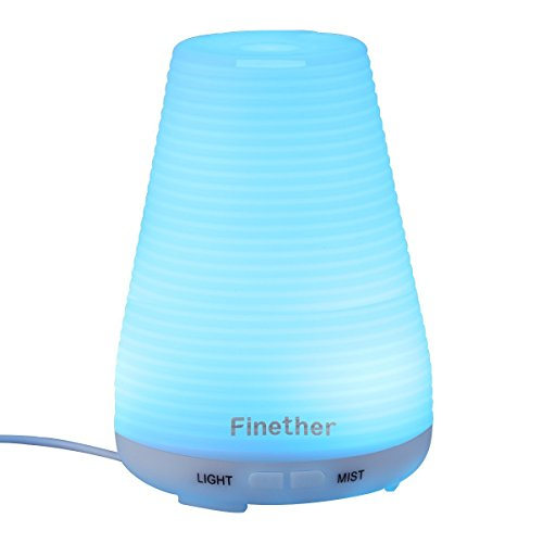 Finether 100ML Aroma Essential Oil Diffuser Ultrasonic Aromatherapy Purifier Humidifier Air Mist and 7 Color Changing LED Lights