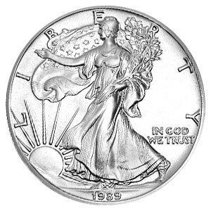 - 1989 American Silver Eagle Dollar - 1 oz. .999 Pure Silver - Choice Brilliant Uncirculated