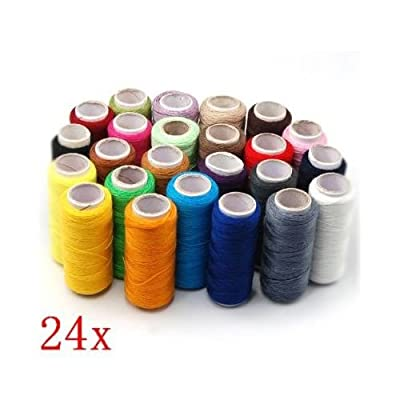 SODIAL- 24 Assorted Colors Polyester Sewing Thread-Pack of 24 from SODIAL