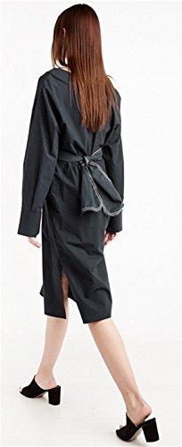 Moda Cuello en V Manga Larga Cintura Belt Midi a Media Pierna Laterales Abertura Aberturas A-Line en línea Skater Plisado Columna Camisero Dress Vestido Negro Negro