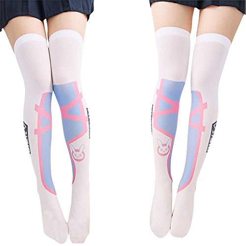 1d24f2394 SzBlaZe Summer Thin Velvet Women s Kawaii Anime Print Slim Over the Knee  Stockings (Pack of