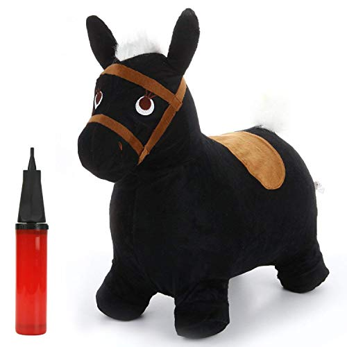 iPlay, iLearn Bouncy Horse Ride On Toy, Black Plush Hopping Inflatable Hopper, Pump Free Outdoor Animal Jumping, Balance Games Toy Gift for Ages 2, 3, 4, 5 Year Old, Kids Toddlers Boys Girls