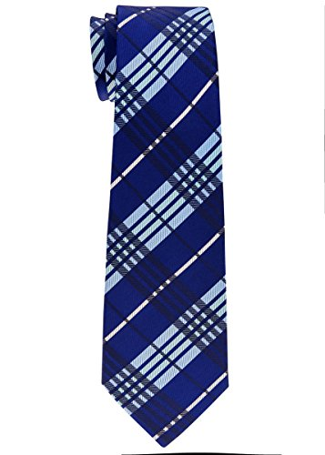 Retreez Stylish Tartan Plaid Check Woven Microfiber Boy's Tie (8-10 years) - Navy Blue (Check Tartan)