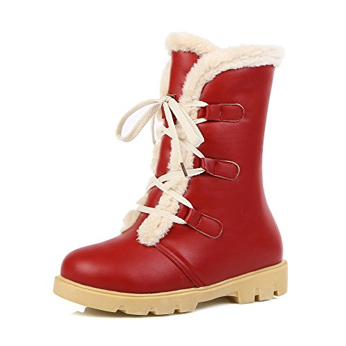 AmoonyFashion Womens Solid Low-Heels Round Closed Toe PU Lace-up Boots Red 7F98Zi6T