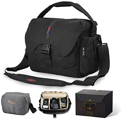 Waterproof Camera Bag Large DSLR Camera Shoulder Bag with Laptop Compartment Rain Cover Outdoor Travel Camera Bag Case for Nikon Canon Sony DSLR Mirrorless Cameras,Lens,Tripod and Accessories