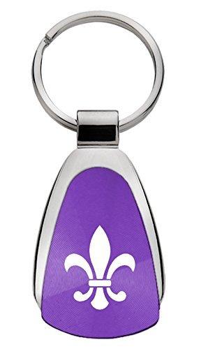 KCPUR.FDL Au-TOMOTIVE GOLD Compatible Keychain and Keyring for Fleur-De-Lis Purple Teardrop