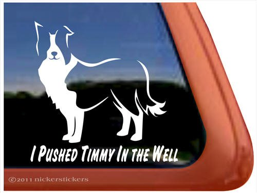 Pushed Border Collie Window Sticker