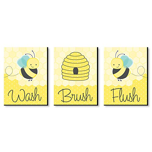 Honey Bee - Kids Bathroom Rules Wall Art -Set of 3 Signs - Wash, Brush, Flush