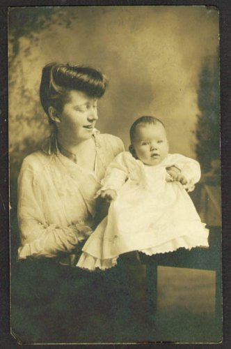 Elizabeth Haviland 5 months & mother RPPC place unknown (Place Haviland)