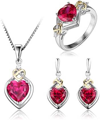 JewelryPalace Women's Love Knot Heart 8.4ct Created Red Ruby Anniversary Promise Ring Drop Dangle Earrings Pendant Necklace 925 Sterling Silver 18K Yellow Gold