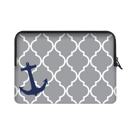 WECE Grey Moroccan Tile Quatrefoil with Anchor Theme Soft Water-proof Neoprene Carrying Case Sleeve Bag For Macbook, Macbook Air/Pro 15.6 Inch All 15.6