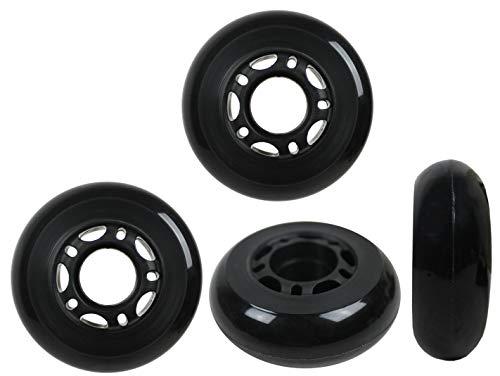 KSS 64mm 82A Inline Skate Rollerblade Wheels with 5-Spoke Hub (4 Pack), 64mm, Black/Grey/Red