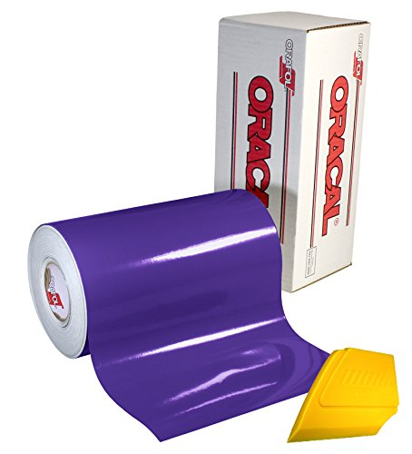 """ORACAL 651 Multi-Colored Vinyl Solvent-Based Adhesive-Backed Calendared Wrap Decals w/Yellow Multi-Purpose Squeegee (12"""" x 5ft, Purple)"""
