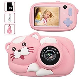 LeaderPro Gift Kids Camera Toys for 3-9 Year Old Girls,Digital Camera for Children Birthday Christmas Toy Gifts,1080P 2.4inch with Cute Cartoon Cat Silicone Anti-Falling Case(16G SD Card Included)