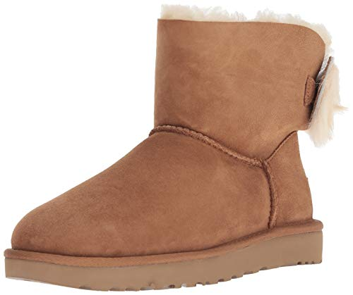 - UGG Women's W Fluff Bow Mini Fashion Boot, Chestnut, 9 M US