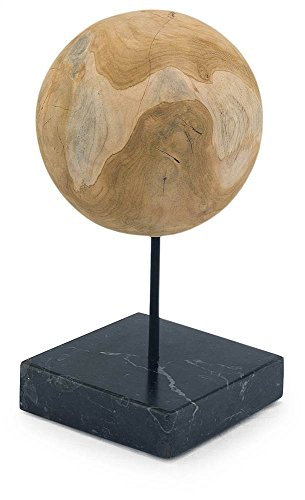 Round Teak Ball on Black Marble Base - Set Of 2 by Moe's Home Collection (Image #1)