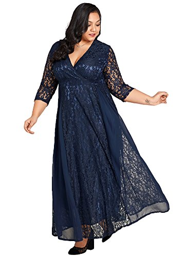 Ankle Length Gown - Jose Pally Women's Plus Size Lace Maxi Dress V Neck 3/4 Sleeve Floral Wedding Gown with Lining