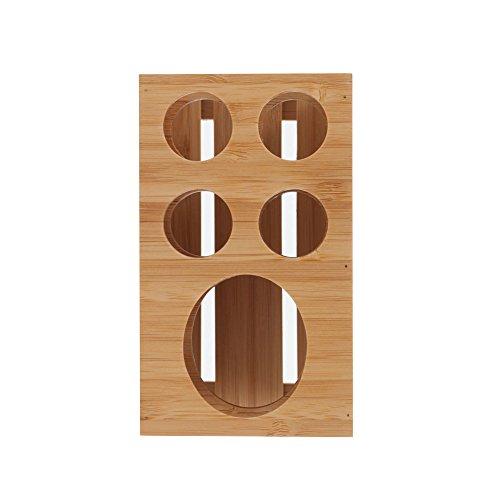 MobileVision Toothbrush and Toothpaste Holder Stand for Bathroom Vanity Storage, Bamboo, 5 Slots by MobileVision (Image #5)