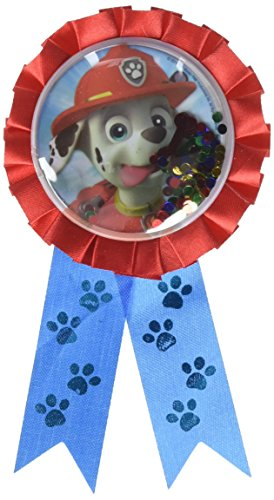 Paw Print Medallion (Amazing Paw Patrol Birthday Party Confetti Pouch Award Ribbon Sticker (1 Piece), Blue/Red, 5 3/4