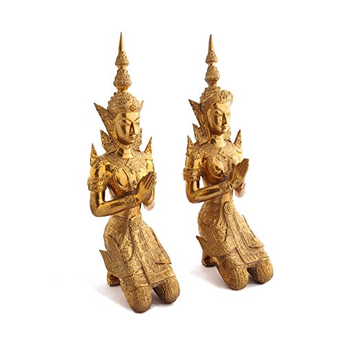 Buddhist Thai Angels Bronze Teppanom Kneeling Namaste Statues In Pair From Southeast Asia, Chiang Mai, Thailand by Siam Sawadee