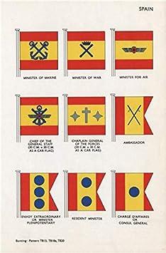 España banderas. Ministro de Marina guerra aire. Embajador enviado Capellán Ministro – 1958 – Old Vintage Print – Lienzo impresiones de España: Amazon.es: Hogar