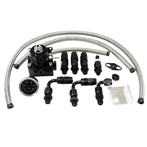 Universal Adjustable EFI Aluminum Fuel Pressure Regulator Kit with 0-100 psi Gauge AN6-6AN Fuel Line Hose Fittings (Black)