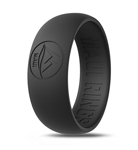 MAUI RINGS Silicone Wedding Ring by BLACK Ring Engagement Rings for Men Wedding Band Mens Ring Rubber Bands Mens Rings Surf Fitness Exercise Gym Crossfit Training Military Sport Running [ SIZE 8 ]
