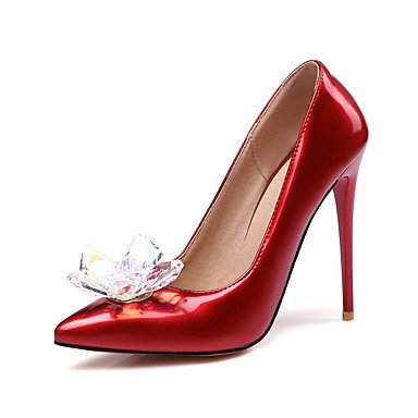 Talones de las mujeres Primavera Verano Otoño Invierno Club de los zapatos de patente de cuero de la boda vestido de fiesta y noche Chunky talón de cristal Light Pink