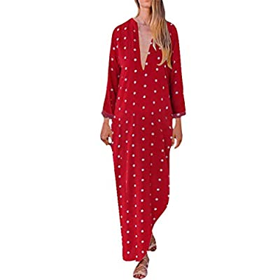 JustWin Women Summer Loose Polka Dot Print Dress Deep V Neck Long Split Hem Baggy Maxi Dress Casual T-Dress