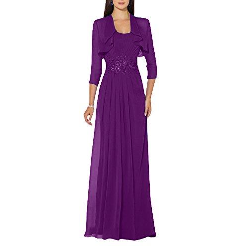 Elegant Violett Abendkleider 3 Partykleider La Langes Chiffon Brau Bolero mia Ballkleider Brautmutterkleider Langarm Festlichkleider mit 4 qxAaACWUEn
