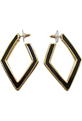 Kenneth Jay Lane Geometric Jet With Gold Tone Edges Hoop Earrings