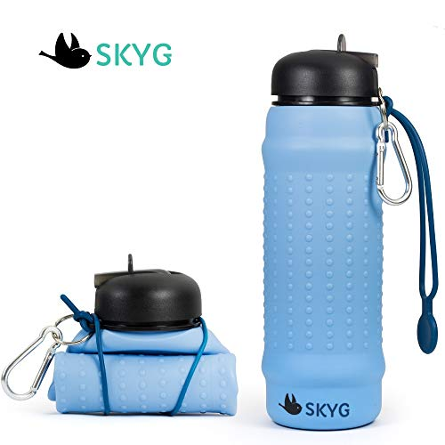 SKYG Collapsible Water Bottle-BPA Free, Food Grade Silicone Portable Foldable Sport Leak Proof Travel Water Bottle with Carabiner and Half Straw, Lightweight, Can Roll Up. 20 oz
