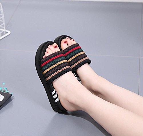 RuiHausschuhe Dame Summer Pine Kuchen dick unten Ein Wort ziehen Mode High Heel rutschfeste Pantoffeln 2