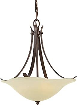 Murray Feiss F2045/3GBZ, Morningside Uplight Chandelier, 3 Light, 300 Watts, Grecian Bronze