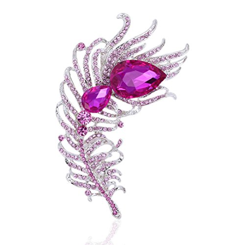 - Tagoo Peacock Brooches Pin for Women Bridal Glittery Rhinestone Crystal Bending Feather Brooch (Feather Pink 4.64