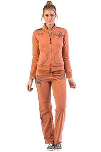 Vertigo Paris Vintage Women's Wash Emroidered Lounge Tracksuit Jog Set - Marigold - - Tracksuit Womens Cool