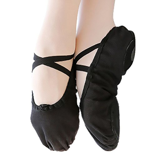 Ballet Flats for Women Canvas Ballet Shoes Gymnastics Dance Slippers Shoes Split Sole Yoga Shoes (Black, US7 Women)