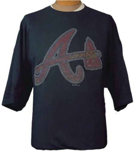 (4XL MLB Atlanta Braves Navy Blue Short Sleeve T-shirt with BLING logo)