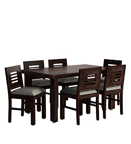 Ramdoot Furniture Warm Chestnut Finish Solid Sheesham Wood 6 Seater Dining Table Set with 6 Chairs