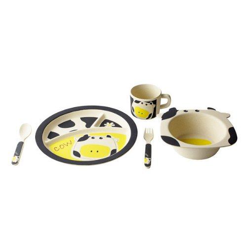EcoBamboo Ware Kids Dinnerware Set, Cow, 5 Piece