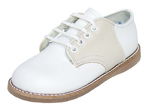 Amilio Kid's Leather Saddle Shoe/Oxford - Chris - Wide Width in White and Ecru 3123EE12 ()
