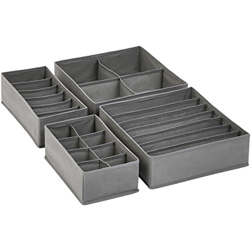 (AmazonBasics Grey Dresser Drawer Storage Organizer for Undergarments, Set of 4 )