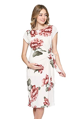 - LaClef Women's Cap Sleeve Maternity Dress with Adjustable Side Tie (Cream Floral, S)