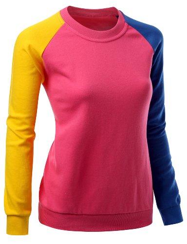 T-shirt Raglan Tone (Women 3 tone Raglan Style Trendy Man-to-man T-shirt PINK XXL)
