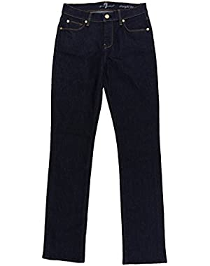 7 for all mankind Women's Dark Blue Straight Leg Stretch Slim Jeans