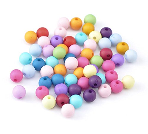 (600 Acrylic Matte Pastel Round Beads Assorted Colors 8mm 3/8