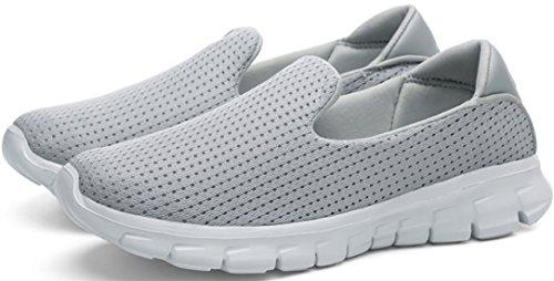Ppxid Donna Slip Mesh Traspirante Su Sneaker Fannullone Scarpa Casual Grigio Chiaro