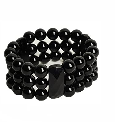 1beda0eb369 Image Unavailable. Image not available for. Color: Lilly Rocket Triple  Strand Black Agate Bracelet ...