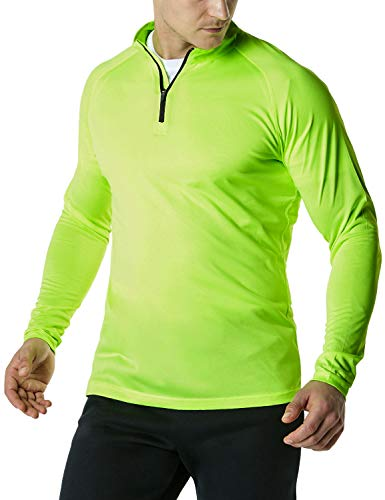 (TSLA Men's 1/4 Zip HyperDri Cool Dry Active Sporty Shirt Top, Hyper Dri(mkz03) - Neon Yellow, Small)