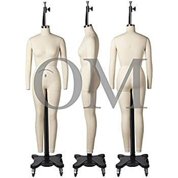 Female Full Body Professional Dress Form Size 8 Collapsible Shoulders W/Two Removable Arms, Mannequin (Deluxe Series)